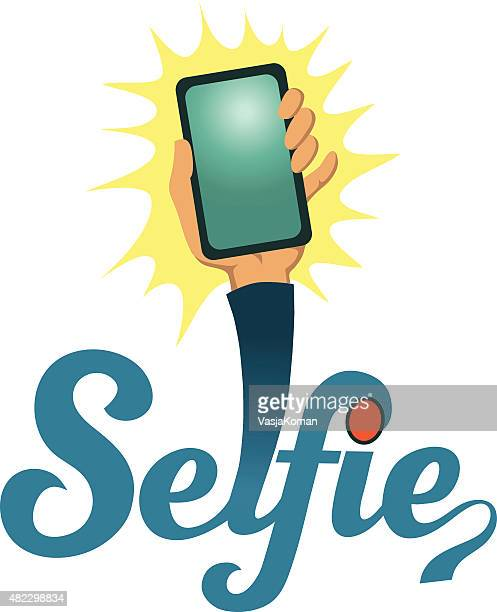 Cartoon Selfie With Hand Holding Mobile Phone