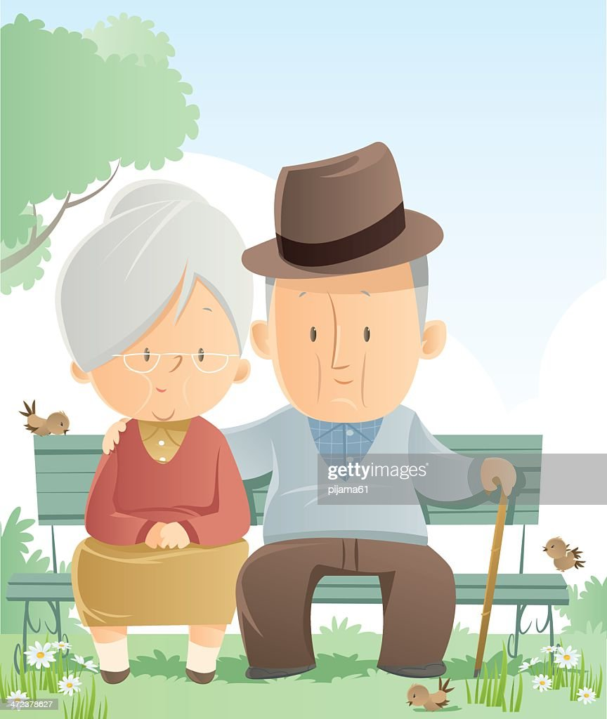 Cartoon senior couple sitting outdoors on a bench