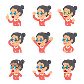 Cartoon senior woman faces showing different emotions