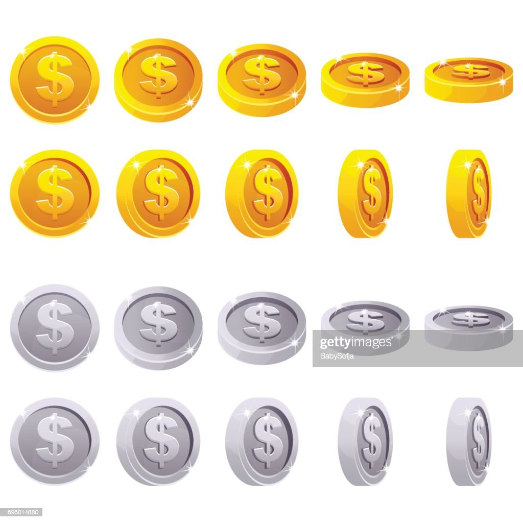 Cartoon set of 3D metallic coins, vector animation game rotation