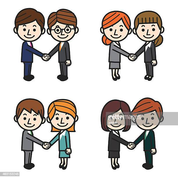 Cartoon set of four couples of business people handshaking