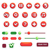 Cartoon set of game buttons and user interface icons