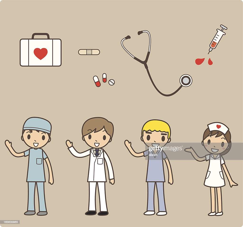 Cartoon Set Of Hospital Staff With Medical Instruments Vector Art