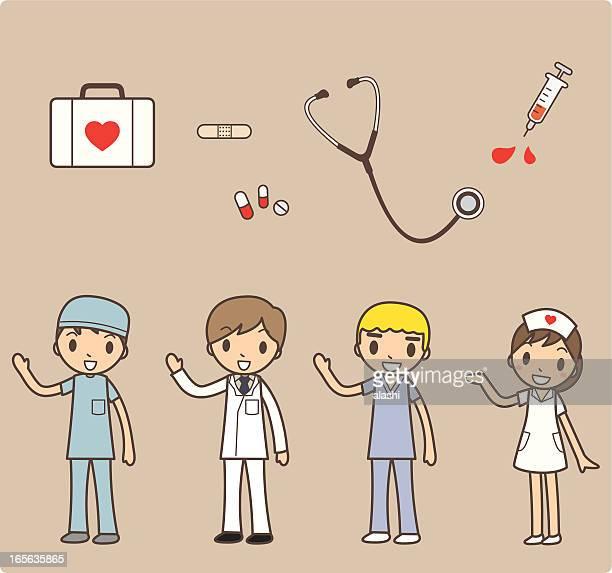 カットイラスト、一連の病院スタッフに医療機器 - zoonotic diseases点のイラスト素材/クリップアート素材/マンガ素材/アイコン素材