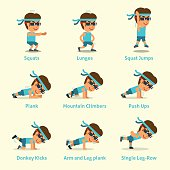 Cartoon set of man doing exercises for health