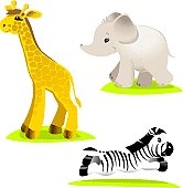 cartoon set of safari animals