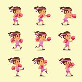 Cartoon set of woman doing kickboxing workout