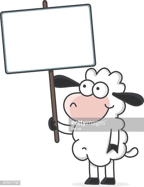 cartoon sheep holding a blank sign - sheep stock illustrations, clip art, cartoons, & icons