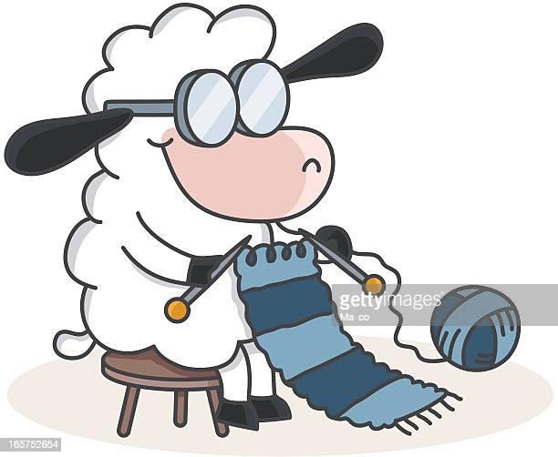 Tejer las ovejas de historieta con bufanda