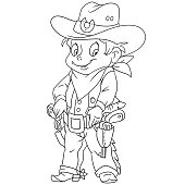 Cartoon sheriff or american cowboy