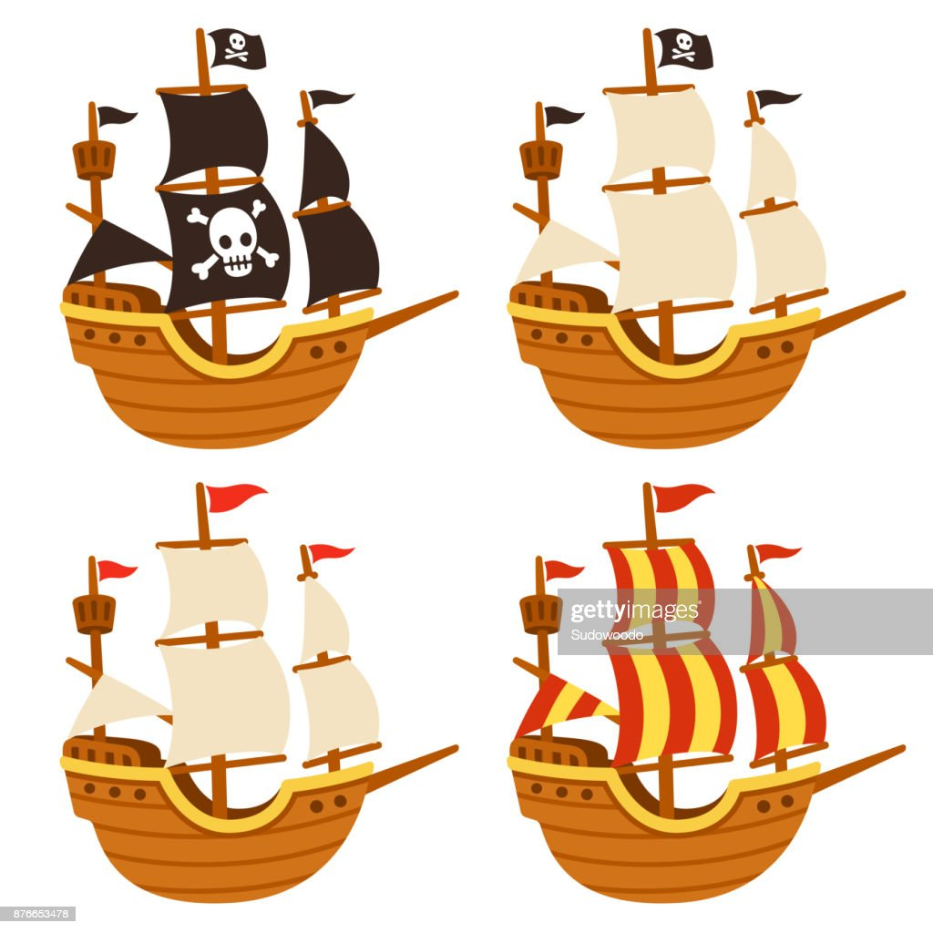 Cartoon ships set