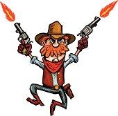 Cartoon shooting cowboy