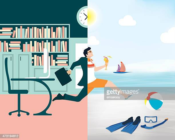 Cartoon showing a business man going from office to beach