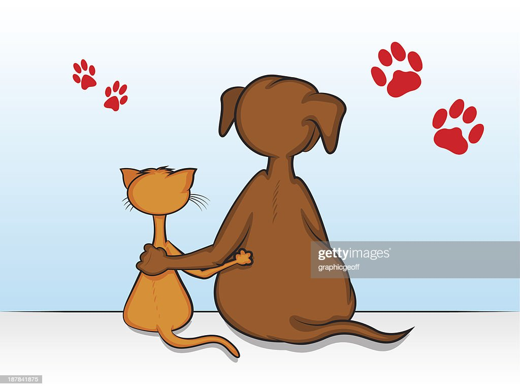 Cartoon showing dog and cat with arms around each other