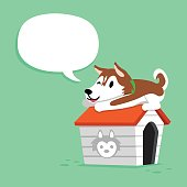 Cartoon siberian husky dog and kennel with speech bubble