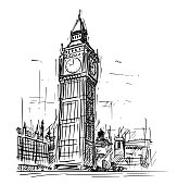 Cartoon Sketch of Big Ben Clock Tower in London, England, United Kingdom