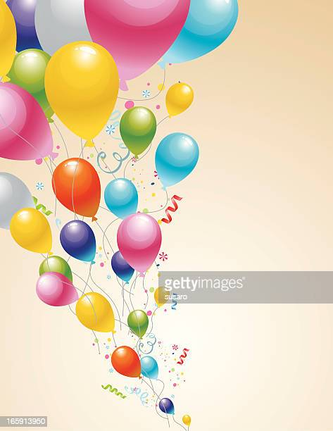 Cartoon sketch of colorful balloons flying with confetti
