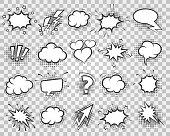 Cartoon sketch speech bubbles set