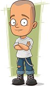 Cartoon skinhead in jeans with suspenders