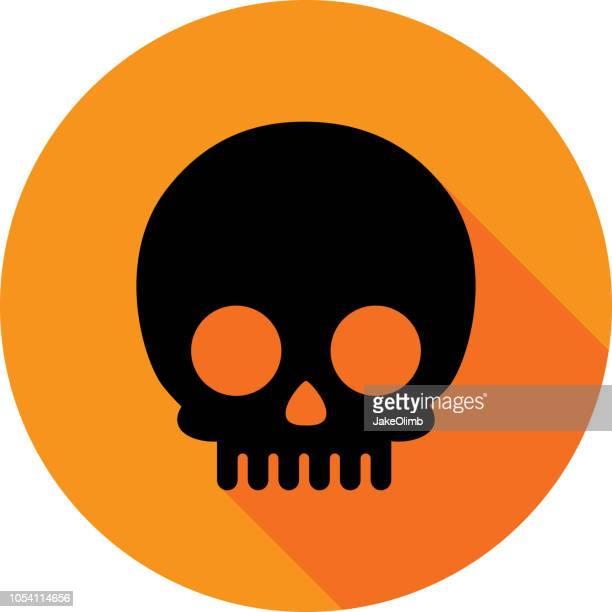 stockillustraties, clipart, cartoons en iconen met cartoon schedel pictogram silhouet cirkel - vervuiling