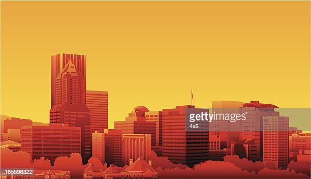 Cartoon Skyline of Portland, Oregon in Sunset Colors