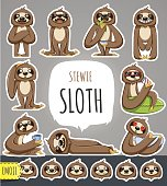 Cartoon Sloth Character. Emoticon Stickers