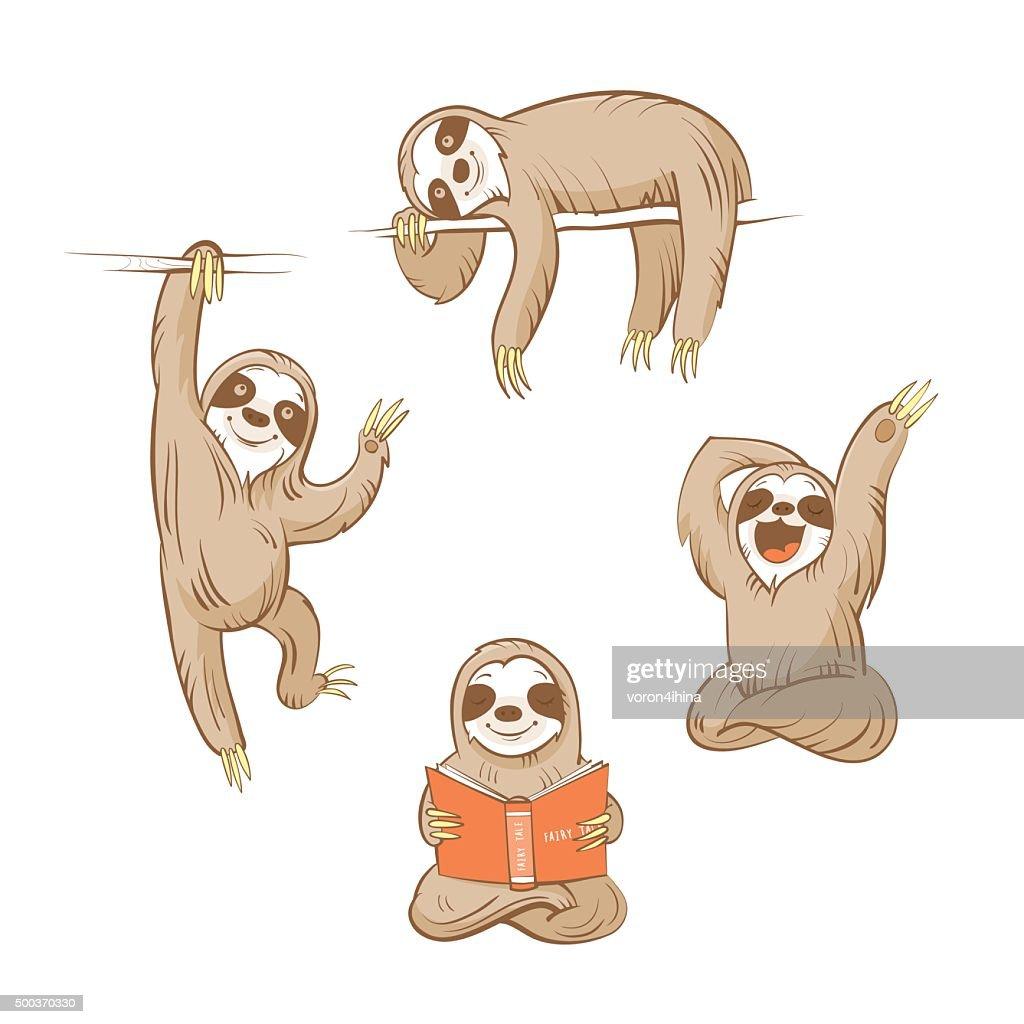 Cartoon sloths set.