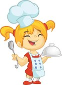 Cartoon small girl holding a tray with a dish and louche. Vector illustration of teenager girl preparing turkey and wearing upron and  chef's toque. Outline