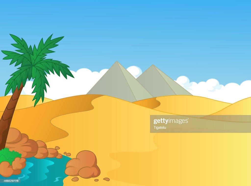 Cartoon small oasis in the desert