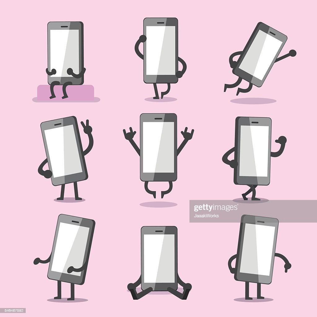 Cartoon smartphone character poses collection