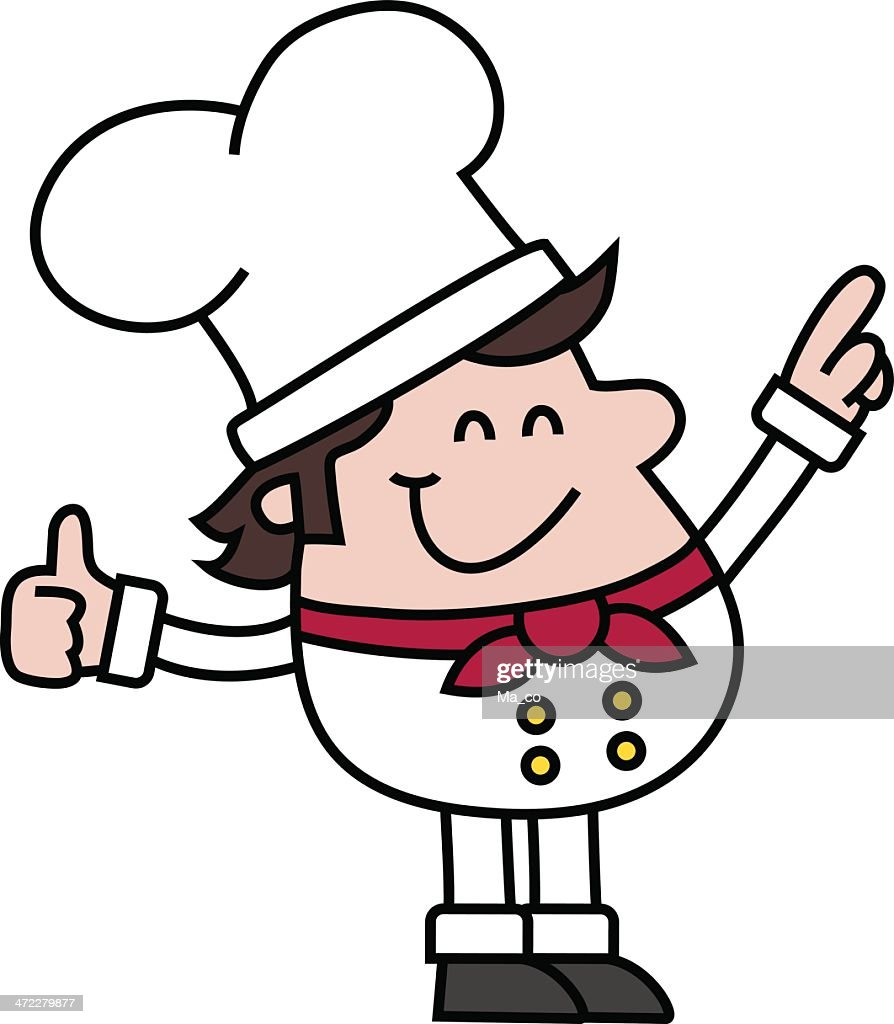 cartoon / smiling Chef points to something