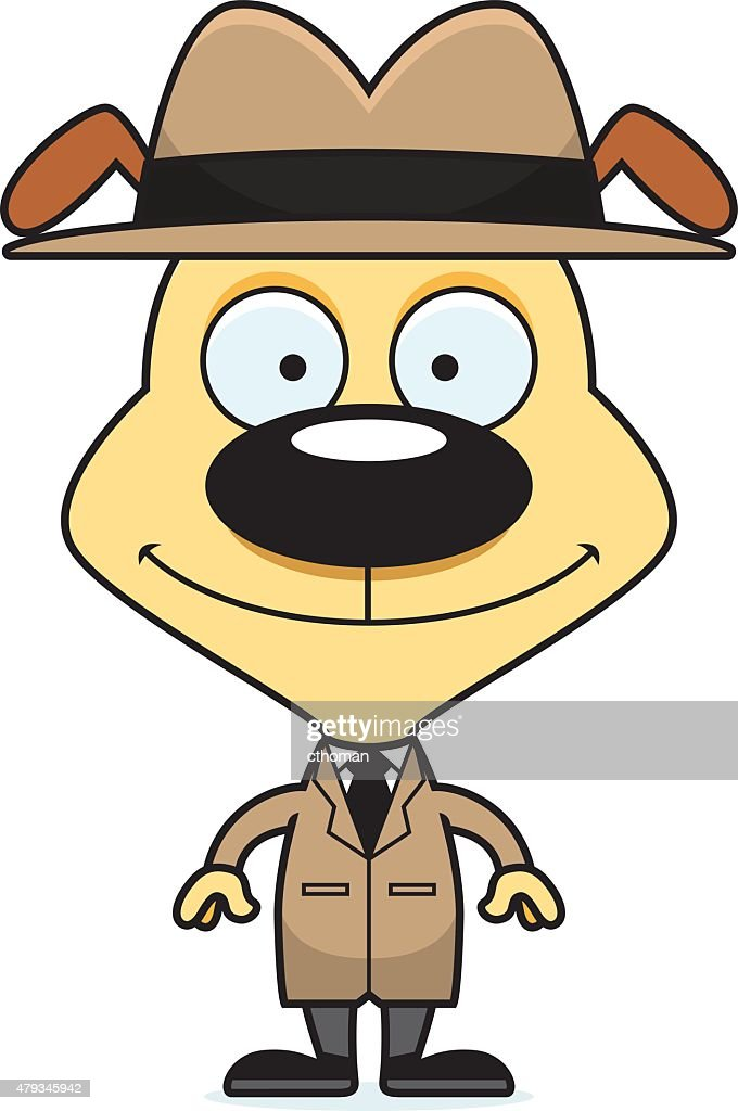 Cartoon Smiling Detective Puppy