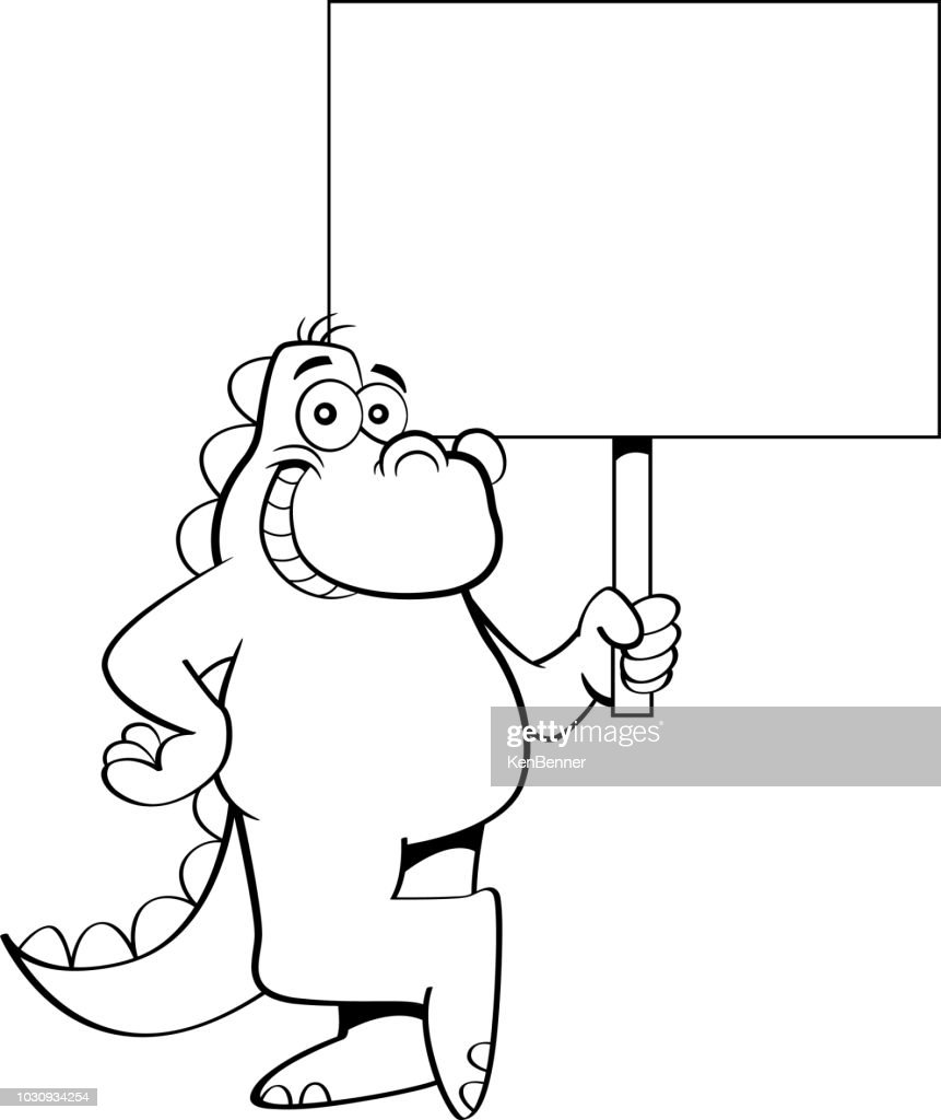 Cartoon smiling dinosaur holding a sign.