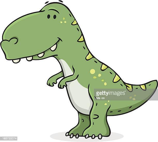 cartoon / smiling dinosaur - dinosaur stock illustrations