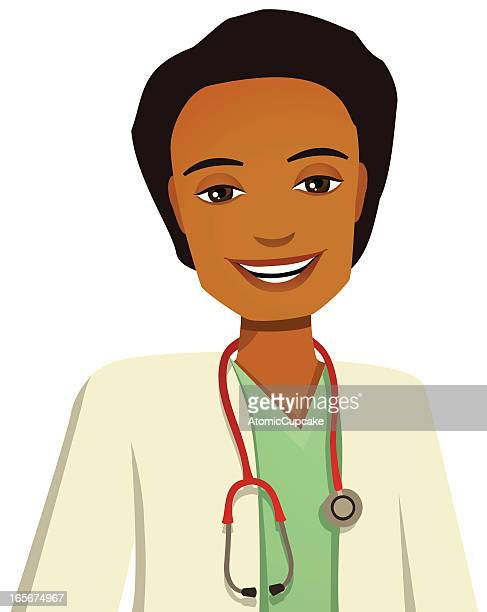 Cartoon smiling male doctor in white background