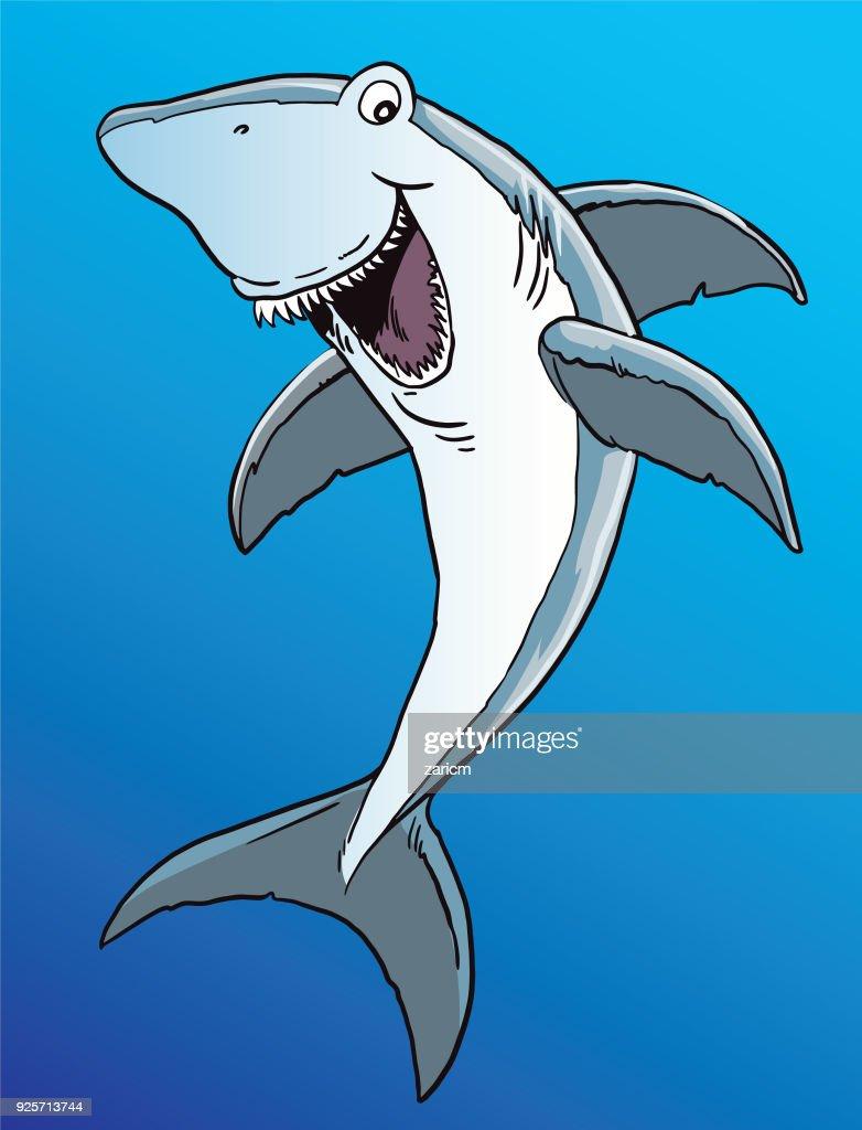 Cartoon smiling shark