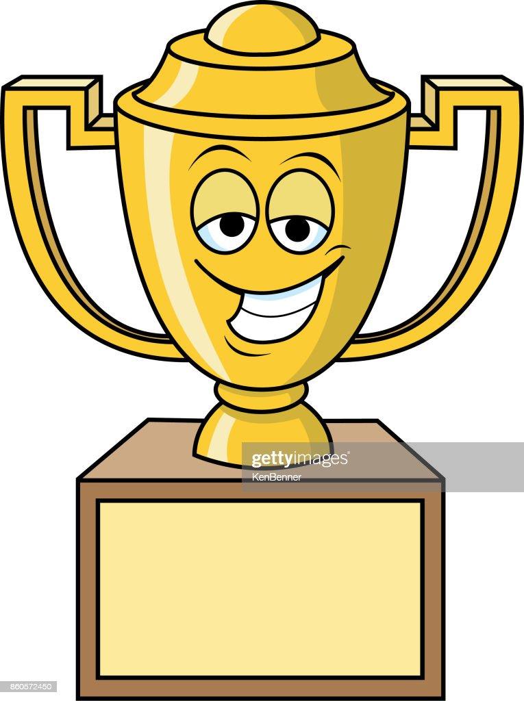 Cartoon smiling trophy.