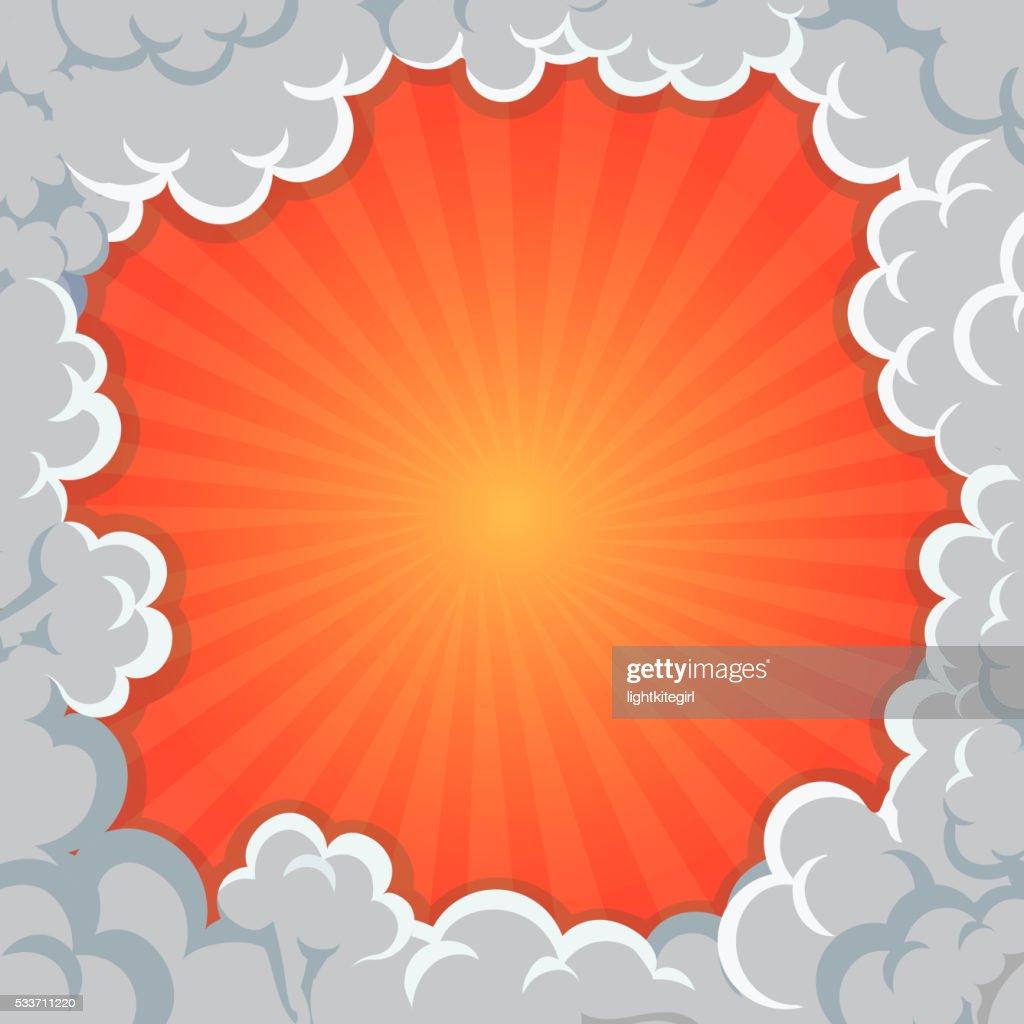 Cartoon Smoke frame Background clouds explosion, vector illustration