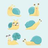 Cartoon snail vector set.