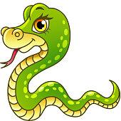 Cartoon snake isolated vector illustration