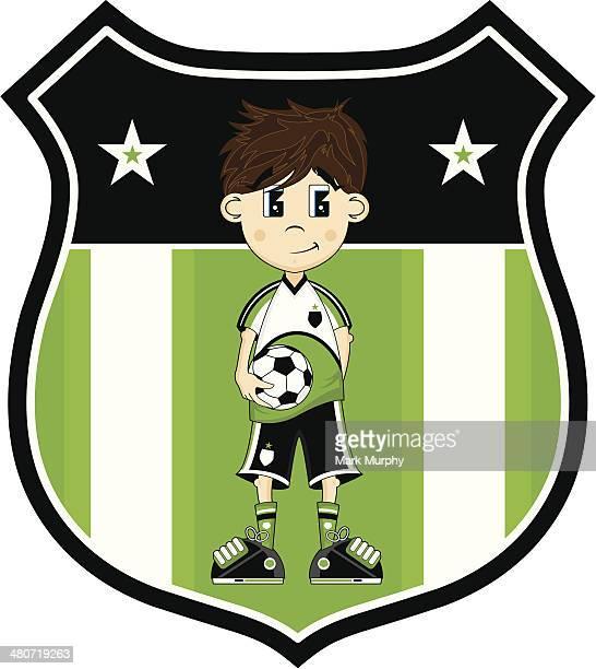 cartoon soccer boy character - sports organization stock illustrations, clip art, cartoons, & icons