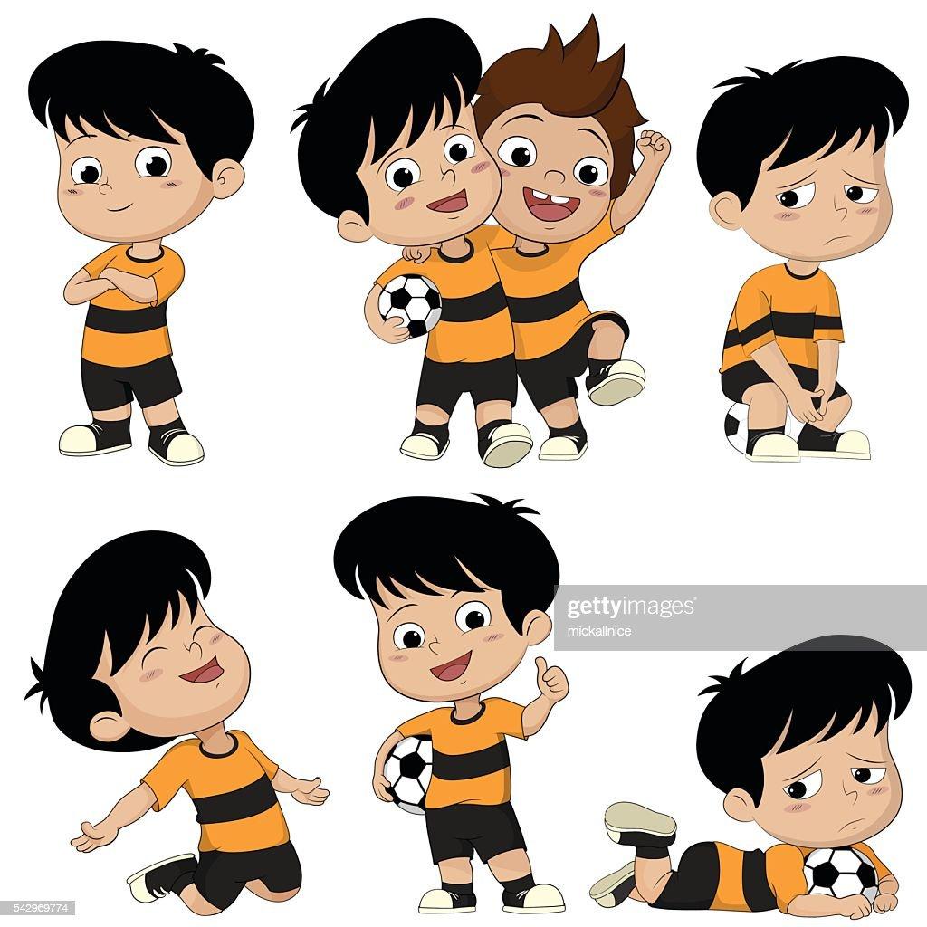 Comic Fussball Kinder Mit Verschiedenen Posen Stock