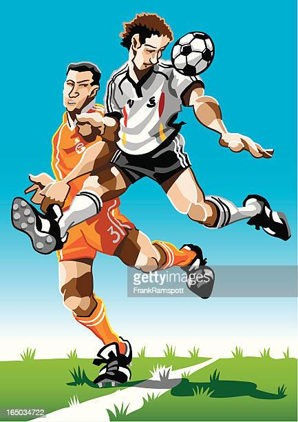 cartoon soccer player air duel - heading the ball stock illustrations