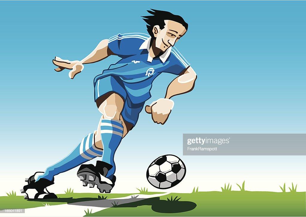 Cartoon Soccer Player Blue : stock illustration