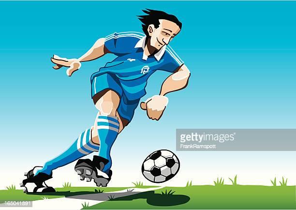 Cartoon Soccer Player Blue