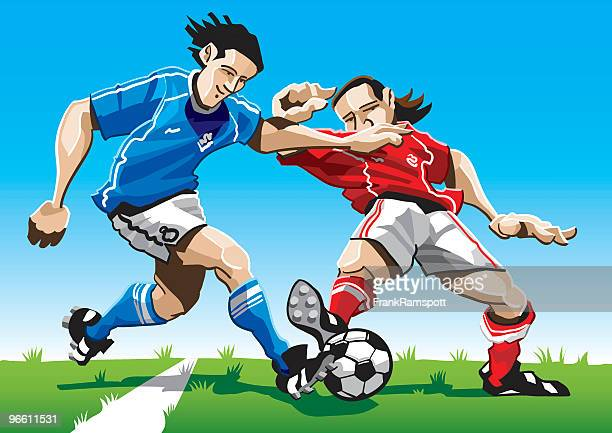cartoon soccer player duel - midfielder soccer player stock illustrations