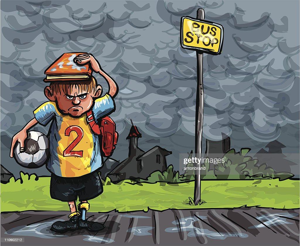 Cartoon soccer player in the rain