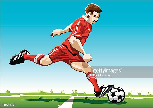 cartoon soccer player red - midfielder soccer player stock illustrations