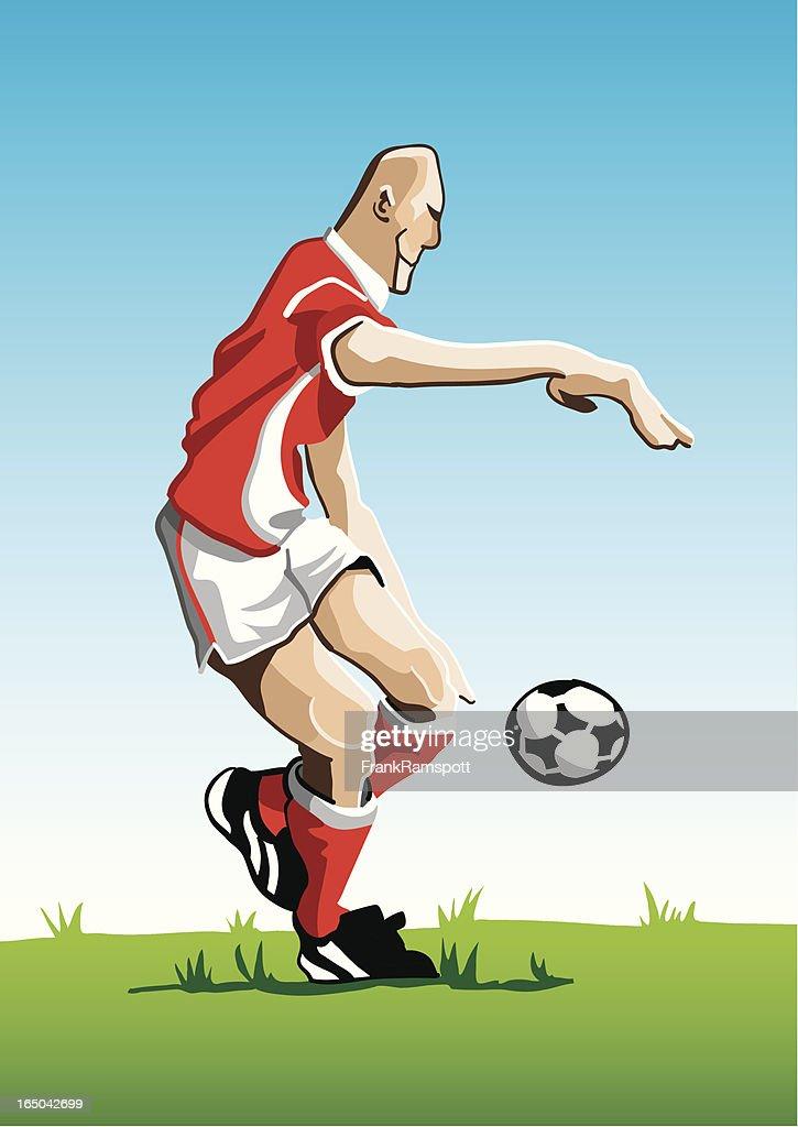 Cartoon Soccer Player Red : stock illustration