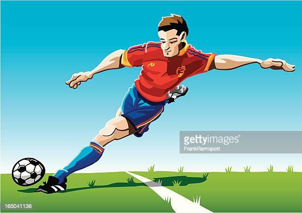 Cartoon Soccer Player Red-Blue
